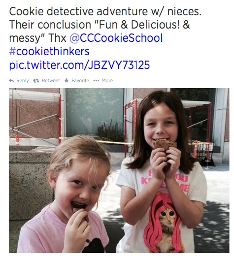 Kids reaping the rewards of their cookie detective work. Nice job girls!